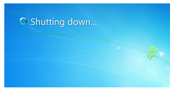 Windows 7 Shutting down Screen