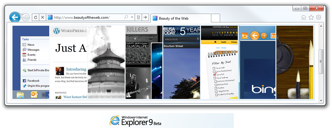 Internet Explorer 9 Beauty of the web
