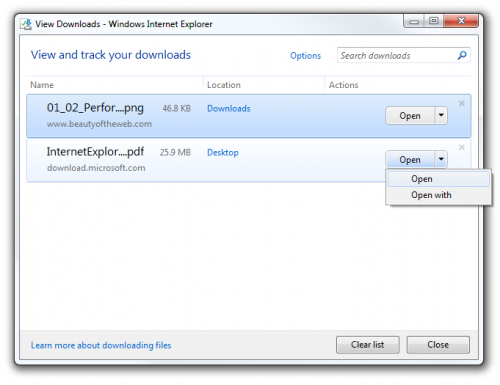 Internet Explorer 9 Download Manager