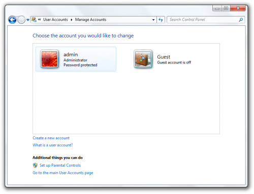 Create new account Windows 7