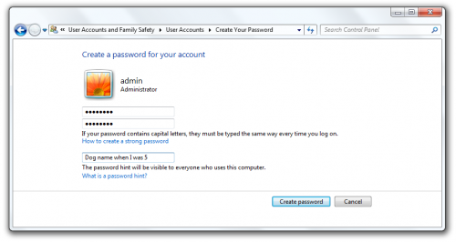 Create password for your account Windows 7