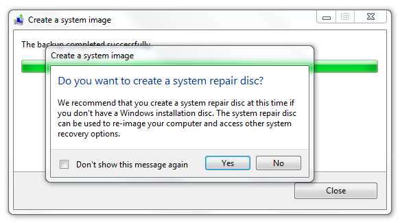 Do you want to create a system repair disc?