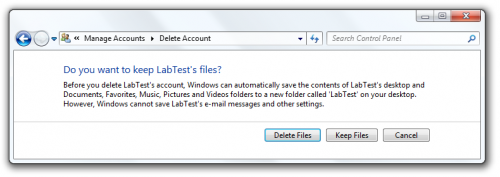 Delete files when deleting user account