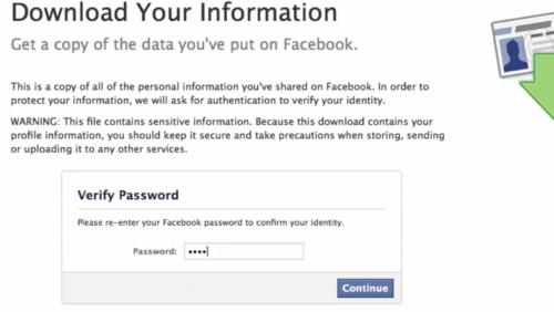 Facebook password confirmation prompt