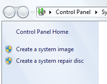 Select Create a system image
