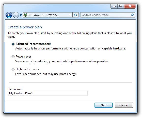 Create new power plan