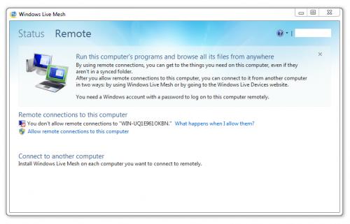 Windows Live Mesh - Remote connection