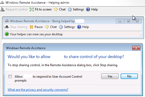 Request Control - Windows Remote Assistance