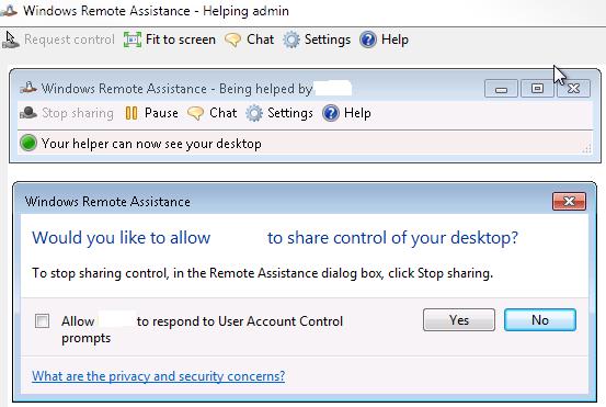 Request Control - Windows Remote Assistance