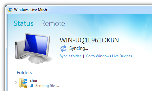 Windows Live Mesh - Syncing