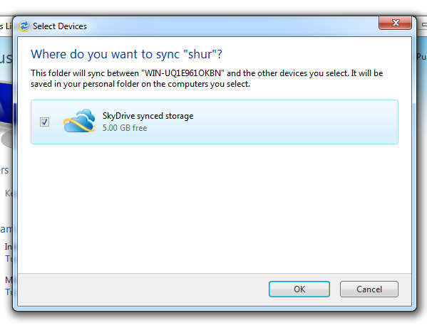 Windows Live Mesh select devices