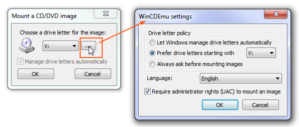 WinCDEmu - Drive settings