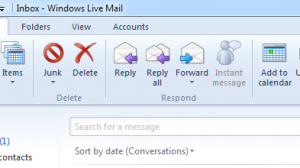 Windows Live Mail 2011 Home Screen