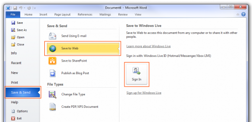 Microsoft Office 2010 - File menu, Save & Send option