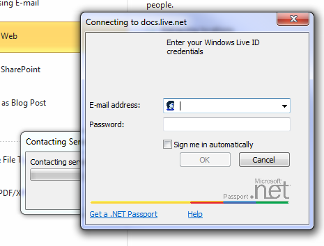 Windows Live Skydrive Microsoft Office 2010 - Sign in