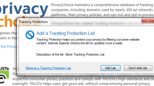 Internet Explorer 9 - Tracking Protection Lists (TPL)