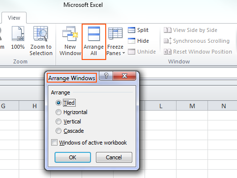 Microsoft Excel 2010 - Arrange All
