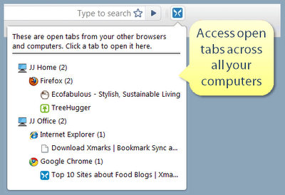 Xmarks sync open tab feature