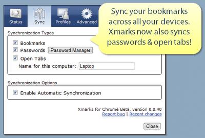 Xmarks sync settings