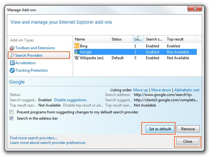 Internet-Explorer 9 - Add-Ons Manager