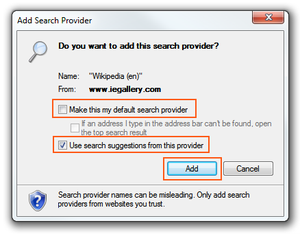 how to set internet search