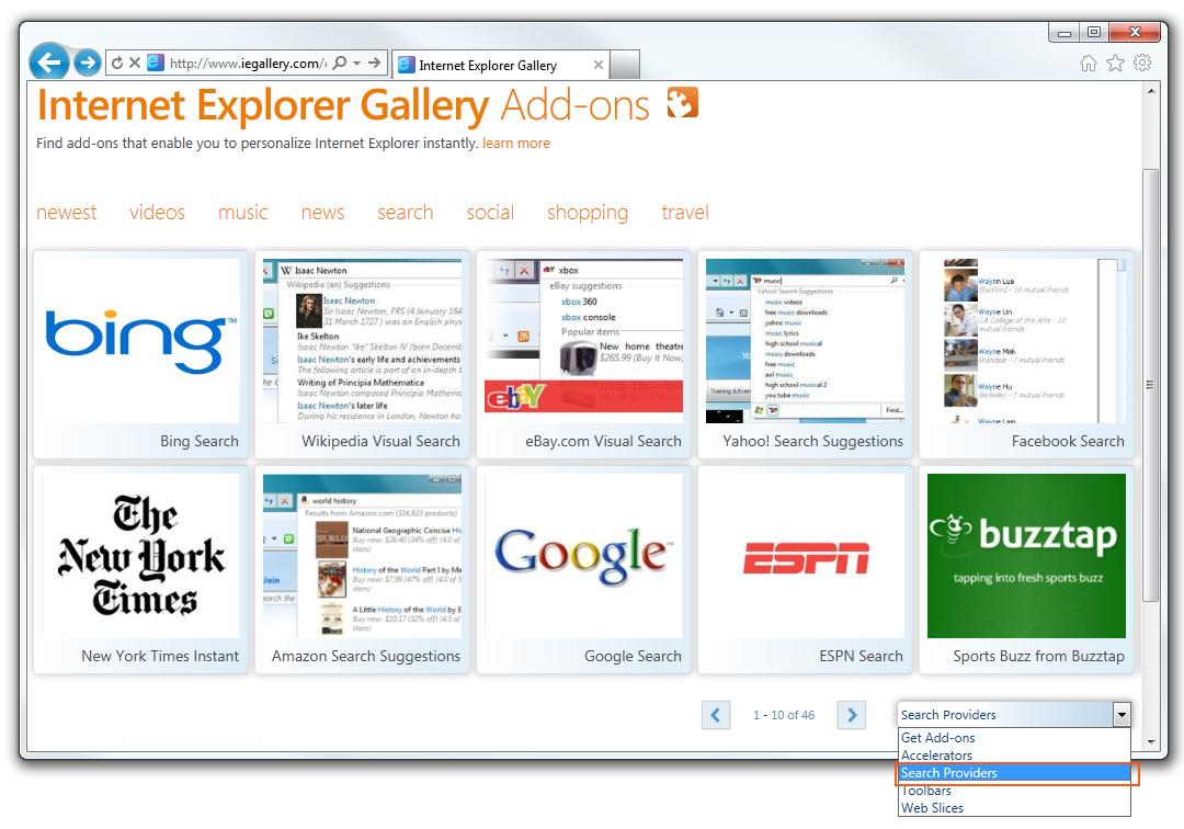 Internet Explorer Gallery Add-Ons
