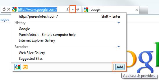 Internet Explorer 9 - Add Search Provider
