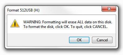 Windows 7 - Format Warning