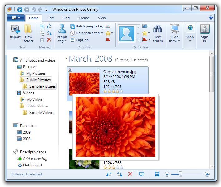 Windows Live Photo Gallery - GUI