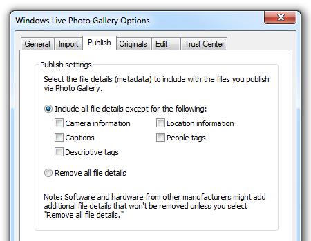 Windows Live Photo Gallery - Publish