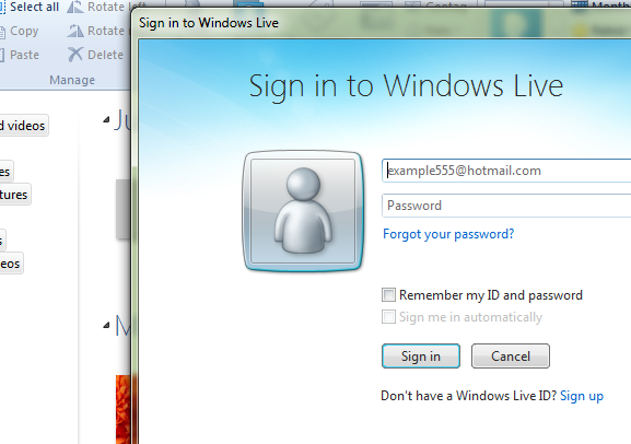 Windows Live Photo Gallery - Sign-in