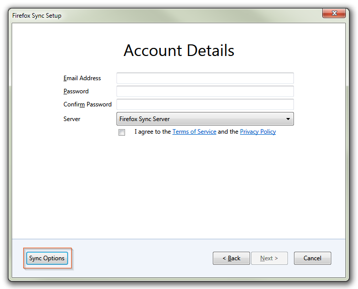 Firefox Sync - Account Details