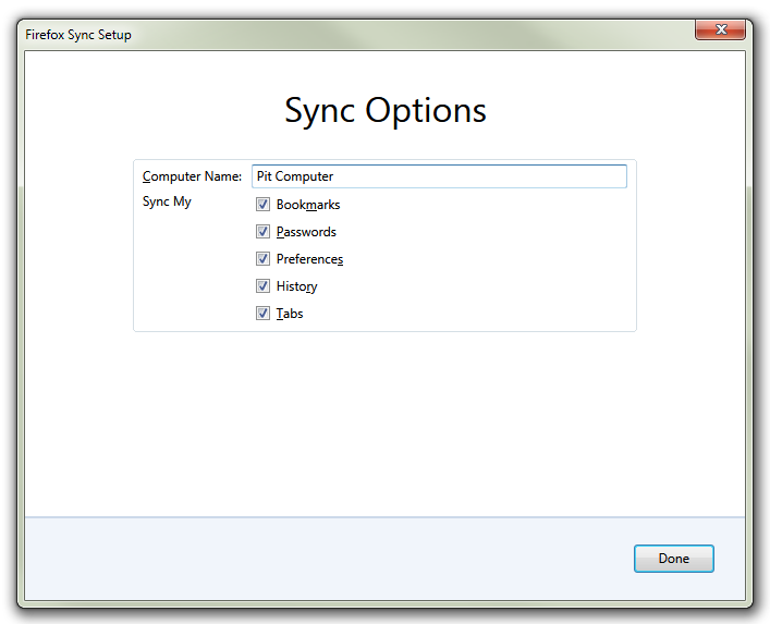Firefox Sync Options