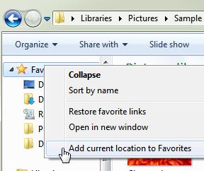 how to add favorites to taskbar windows 7