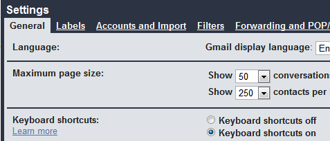 Gmal settings page