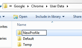 Google Chrome new profile folder