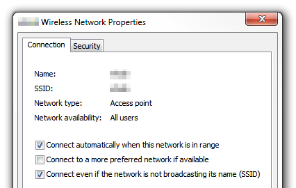 Windows 7 - Wireless network properties