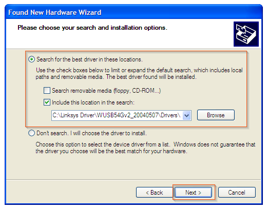 Windows XP - Browse drivers location