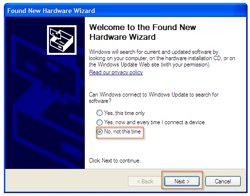 Windows XP - Welcome to the Found New Hardware Wizard