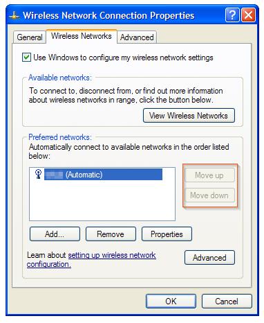 Windows XP - Wireless Network Connection Properties