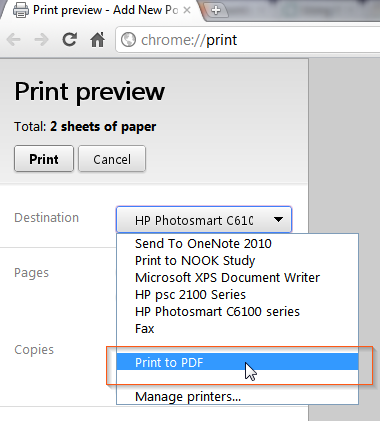 unable to print pdf from chrome
