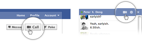 Facebook Video Chat buttons