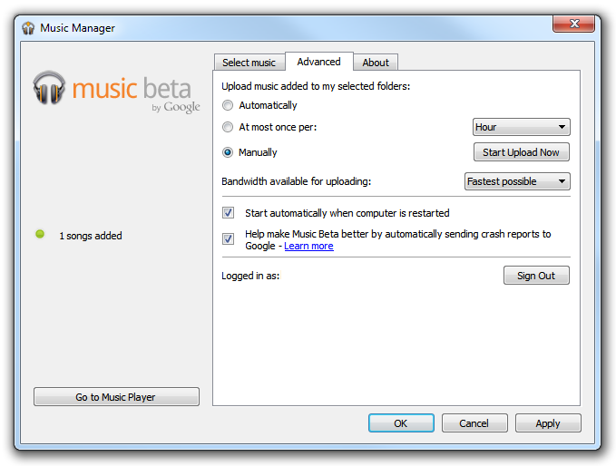 Music Beta - Manager advanced options