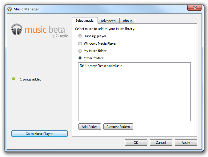 Music Beta - Manager options