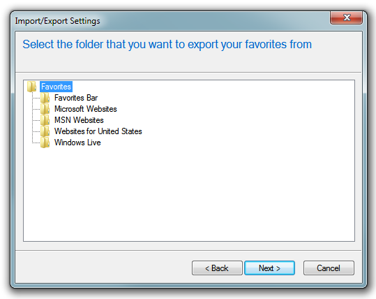 how to find favourites location from ie