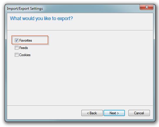 Internet Explorer - Export/Import Favorites, Feeds, Cookies options