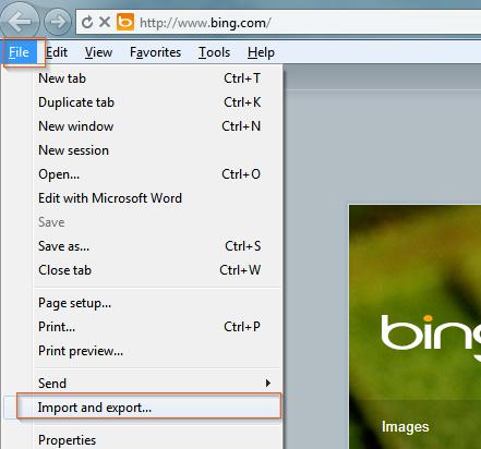 Internet Explorer - Export/Import favorites