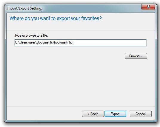 Internet Explorer - Export/Import choose the path to store favorites