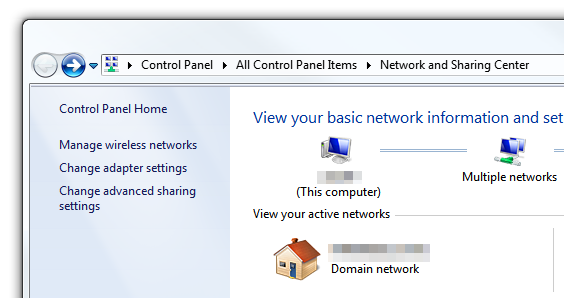 Windows 7 - Network and Sharing Center - Left pane