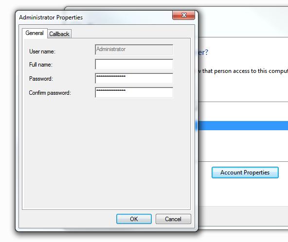 Windows 7 VPN Server - Account properties